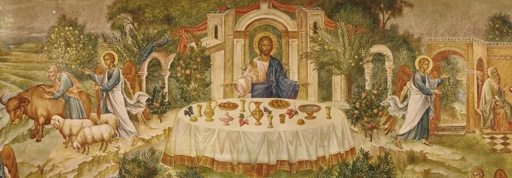 Притча о званных на пир. Фреска храма в честь святого Иоанна Предтечи и Двенадцати апостолов
